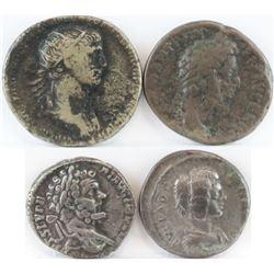 Lot of (4) Roman Empire Coins includes 98-117 Trajan, 180-192 Commodus, 193-211 Septimius Severus