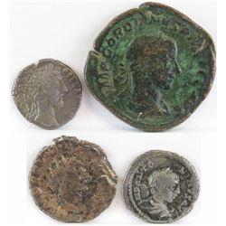 Lot of (4) Roman Empire Coins includes 180-192 Commodus, 238-244 Gordian III, 268-270 Cladius Gothic