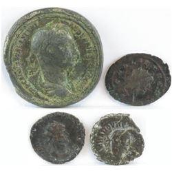 Lot of (4) Roman Empire Coins includes 222-235 Alexander Severus, 260-268 Gallienus, 268-270 Claudiu