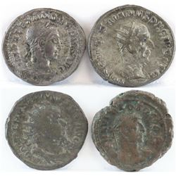 -Lot of (4) Roman Empire Coins includes 222-235 Severus Alexander, 249-251 Trajan Decius, 259-269 Ga