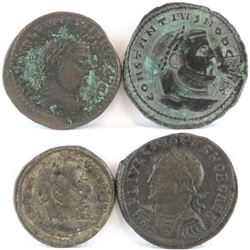 Lot of (4) Roman Empire Coins includes 284-305 Diocletian, 306-307 Constantius I, 311-337 Constantin
