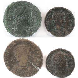 Lot of (4) Roman Empire Coins includes 311-337 Constantine I, 337-350 Constans, 364-378 Valens  37