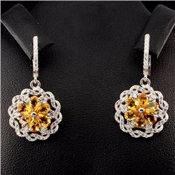 Natural Brazilian Citrine Flwower 33 Carats  Earrings