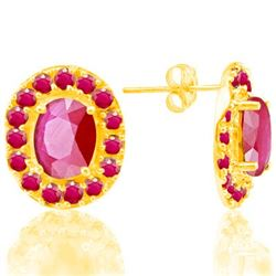 Genuine Ruby 7.02 carats Soild Gold Earrings