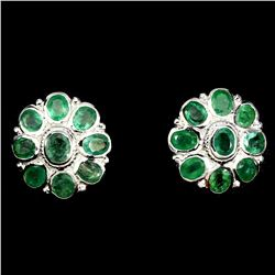 Natural Top Rich Green Emerald 40 Carats Earrings