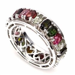 Natural Fancy Tourmaline 37 Carats Eternity Band