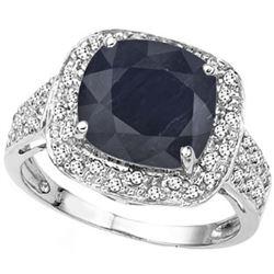 Natural black Sapphire & 1/4 Ct Diamond Ring
