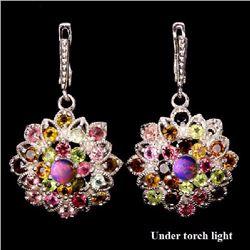Natural Fancy Tourmaline & White Opal Earrings