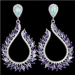 Natural Opal Tanzanite Amethyst Earrings