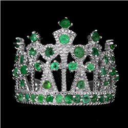Natural Emerald 24 Carats Crown Ring