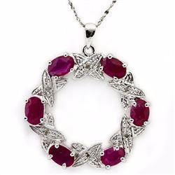 Genuine Ruby & Diamond 4.34 Carats Pendant