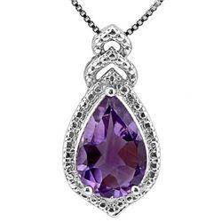 Natural Amethyst & Diamond Pendant
