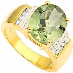 Natural Green Tea Amethyst & Diamond Ring 4.17 cts Ring