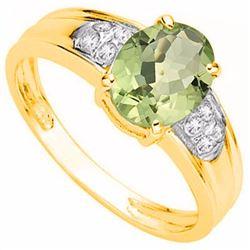 Natural Green Tea Amethyst & Diamond Ring 1.79 cts Ring