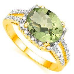 Natural Green Amethyst & Diamond Ring