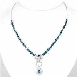 Natural Stunning London Blue Topaz Necklace