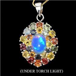 Natural Fancy Sapphire & Opal Pendant