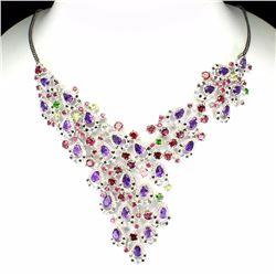 Natural Burmese Spinel & Multi Gemstones  Necklace