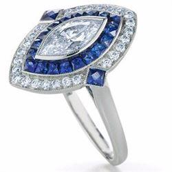 Stunning Art Deco Diamond & Sapphire Ring
