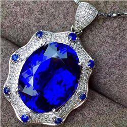 Stunning Natural Royal Blue Tanzanite 17.80 Cts Pendant