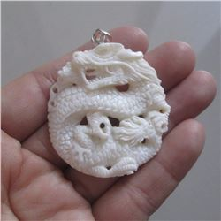 Hand Carved Dragon Pendant