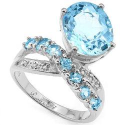 Natural Sky Blue Topaz & Diamond Ring