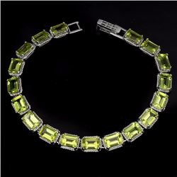 Natural Octagon 7x5mm Green Peridot Bracelet