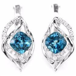 Natural Cushion London Blue Topaz Earrings