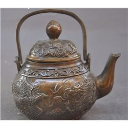 Antique Chinese Fengshui Bronze Dragon Phoenix Tea Pot