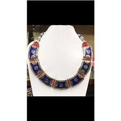 Tibet Hand Made Natural Coral, Lapis Lazuli Necklace