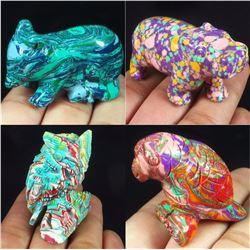 Hand Carved Colorful Calsilica Gemstone 4 Animals