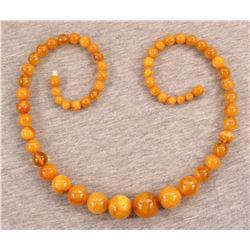 Antique Natural Amber Buttersctoch Egg Yolk Necklace
