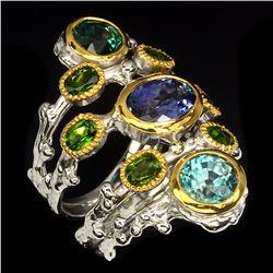 Natural Stunning Rich Blue Tanzanite, Zircon & Diopside Ring