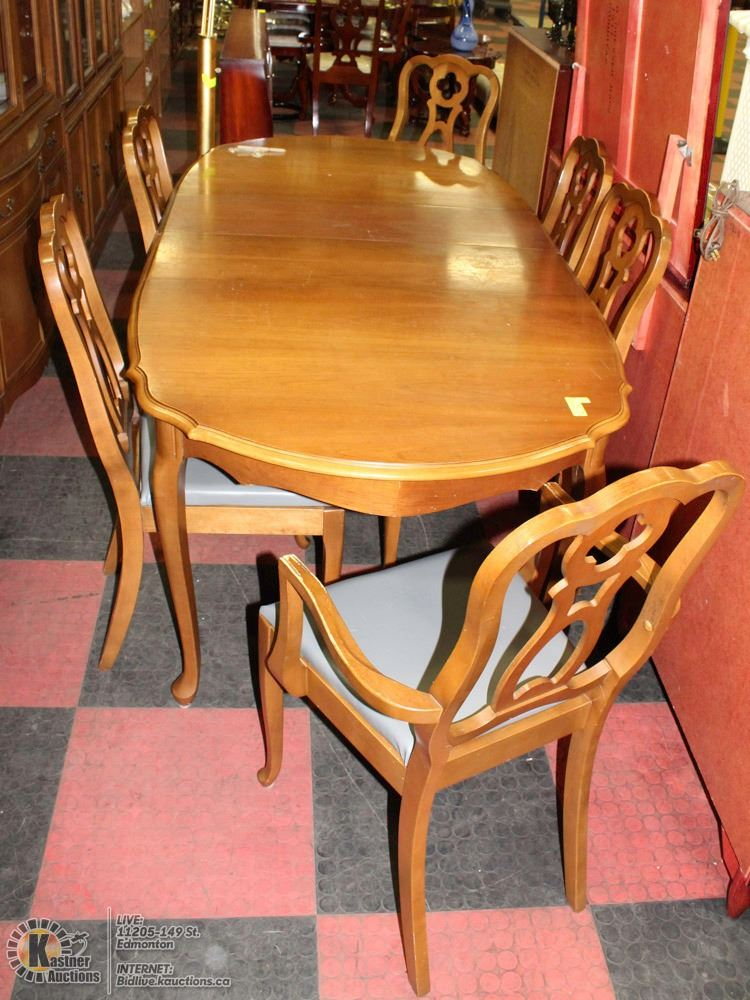 KNECHTEL TABLE AND 6 CHAIRS WITH MATCHING BUFFET