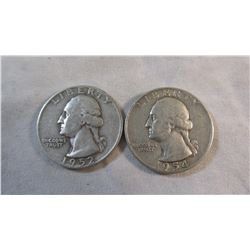Lot of 2 Washington Quarters; 1952D and 1954S