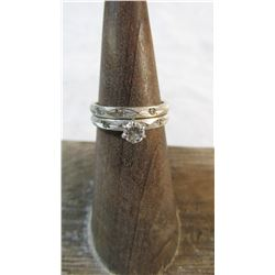 14Kt White Gold and Diamond Ring Set