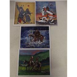 Lot of 4 Signed Prints by Lakota Artist Thurman Horse