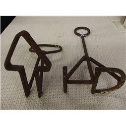 2 Antique Short Handle Branding Irons