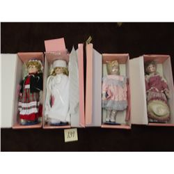 Set of 4 Vintage dolls by Marian Yu in Original Boxes