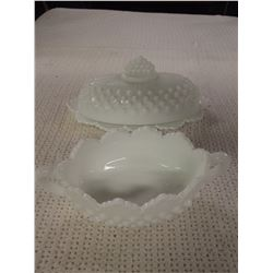 Fenton Marked Milk Glass Hobnail Buttter/Candy Dish