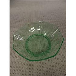 Green Depression Glass Bowl