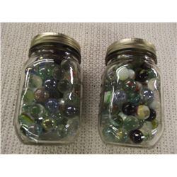 2 Jars Full of Vintage Marbles