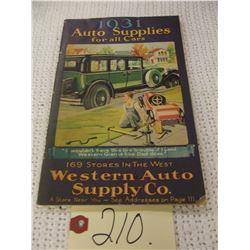 Original 1931 Western Auto Supply Co Parts Catalog