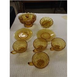 8 Pieces of Amber Depression Glass