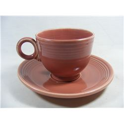 Vintage Fiestaware 1950's Rose Cup and Saucer