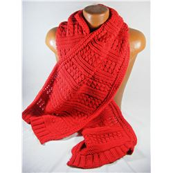 Bright Red Cable Knit Oversized Super Warm 100% Acrylic Scarf Muffler
