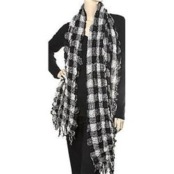 Woven Puckered Scarf Muffler with Block Check Pattern Black and White