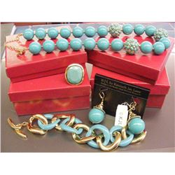 Vintage Kenneth Jay Lane Turquoise and Gold 5 Pc. Set