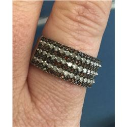 Michael Drechsler MDJ Sterling Silver Cognac and White Diamond Ring
