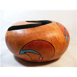 Native American Sioux Gourd Bowl Artist Marty Cuny Pine Ridge South Dakota